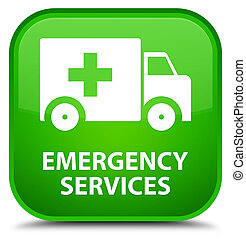 Emergency services special green square button - Emergency...