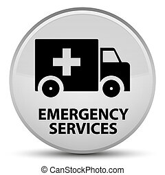 Emergency services special white round button - Emergency...