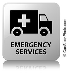 Emergency services white square button - Emergency services...