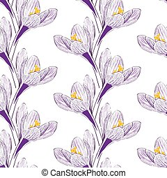 Seamless pattern with saffron - Seamless pattern with flower...