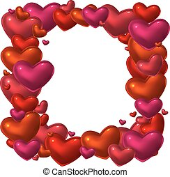 Red glass hearts frame.