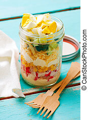Crab stick salad in the maison jar. - Crab stick salad in...