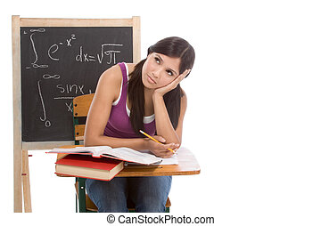 Hispanic college student woman studying math exam - tired...