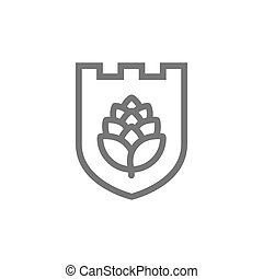 Vector of shield and hop icon combination. Beer and bar...