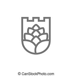 Vector of shield and hop line icon combination. Symbol and...