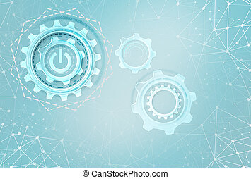 Industrial gears over futuristic background.