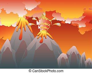 Cartoon Volcano Eruption - Illustration of cartoon volcano...