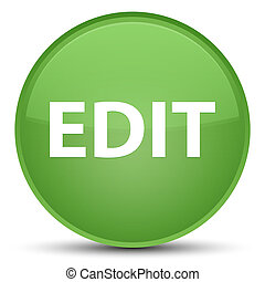 Edit special soft green round button - Edit isolated on...
