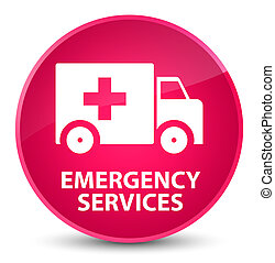 Emergency services elegant pink round button - Emergency...