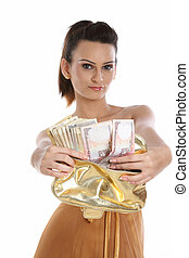 woman showing purse full of cash - Young woman showing her...