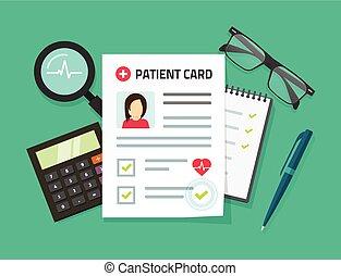 Patient card vector illustration, flat cartoon medical...