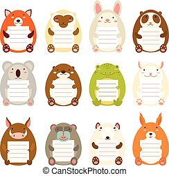 Collection of cute animal memo pads - Set of cute animal...
