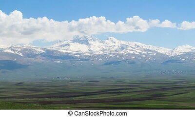 Landscapes and Snowy Peaks Mountains of Armenia. Time lapse...