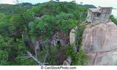 Rocks and mountains with forest trees aerial shot - An...