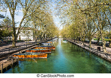 Reflection of Pont des Amours (Bridge of Love) in Annecy,...