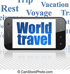 Vacation concept: Smartphone with World Travel on display -...