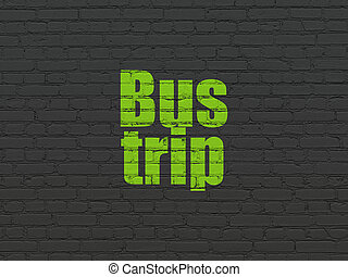 Vacation concept: Bus Trip on wall background - Vacation...