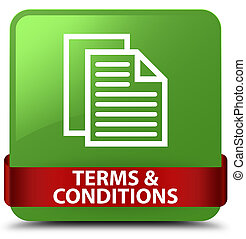 Terms and conditions (pages icon) soft green square button red ribbon in middle