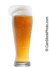 Mug of frosty beer with foam - Mug of frosty light beer with...