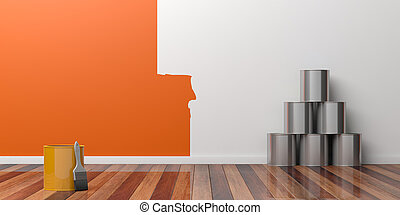 Painting of an empty wall. Renovation concept. 3D illustration