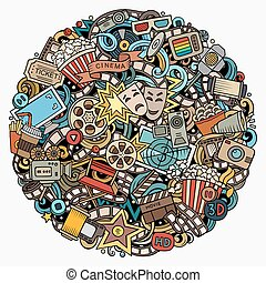 Cartoon vector doodles Cinema illustration. Colorful,...