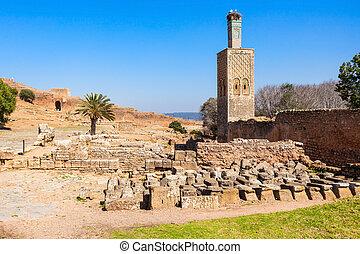 Chellah in Rabat - Minaret at the Chellah. Chellah or Sala...