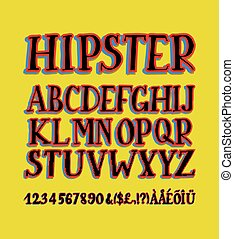 Vector of retro stylized bold font and alphabet....