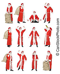 Collage of Santa - Collage of isolated Santa Claus in...