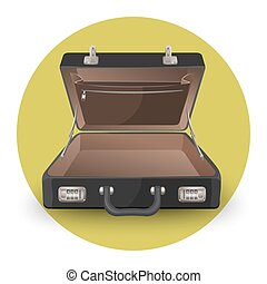 Open briefcase or suitcase with inside pocket on zipper...