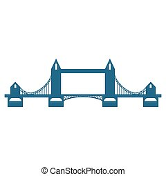 Tower Bridge blue silhouette isolated on white background