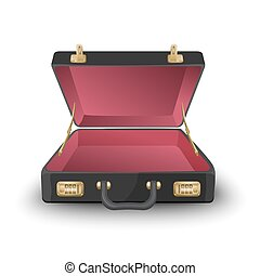Opened black and red briefcase isolated on white background...
