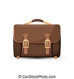 Icon of brown leather briefcase isolated on white - Icon of...