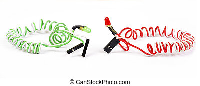 Red and green diodes isolated on white - Red and green...