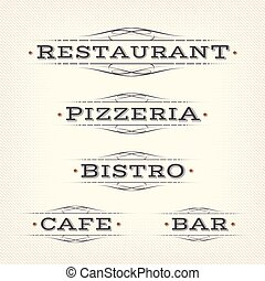Retro Restaurant, Pizzeria And Bar Banners - Illustration of...