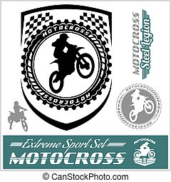 Moto Track Logos and bages - vector stock