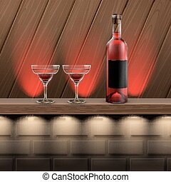 Wooden shelf with alcohol - Vector brown wooden shelf with...