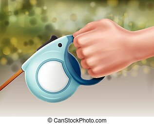 Leash in hand - Vector illustration of automatic retractable...