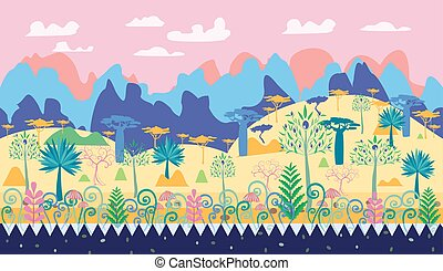 A beautiful magic forest scene illustration, fantasy forest template with trees, mushrooms, mountain.