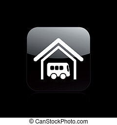 Bus garage - Vector illustration of modern glossy icon...