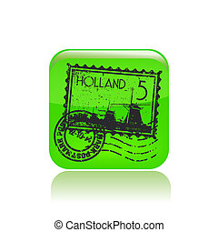 Holland - Vector illustration of modern green icon with...