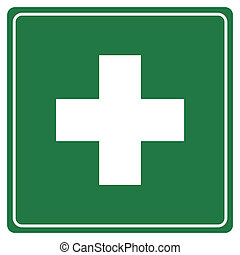 First aid sign - Green first aid sign isolated on white...