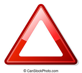 Red warning triangle with copy space, isolated on white...