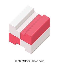 Two color bubble gum isometric 3D vector illustration...