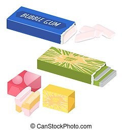 Collection of various types of bubble gums illustration -...