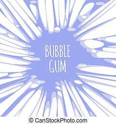 Bubble gum purple background with burst of chewing candy...