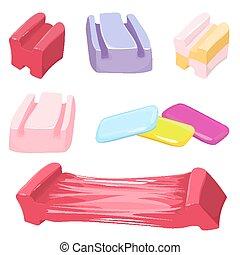 Set of colorful bubble gum candies vector illustration...