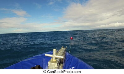 A shot of boat's bow with ocean - A medium shot of a boat's...