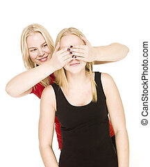 Girls playing Peek-a-boo isolated on white background