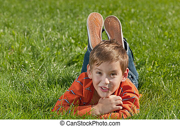 Surprised boy on the meadow - A handsome surprised boy is...