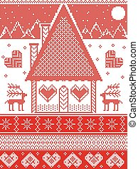 Nordic style, inspired by Scandinavian Christmas pattern illustration in cross stitch in red and white including  gingerbread house, star, snowflake, snow, heart, mountain, moon, reindeer, ornaments